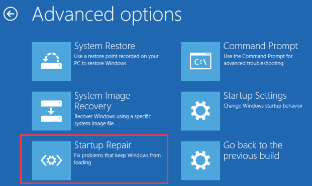 Run Startup Repair Windows 10