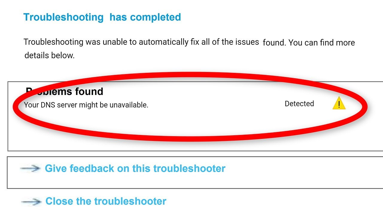 Your DNS Server Might Be Unavailable